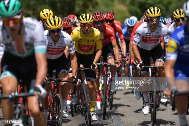 Richie Porte of Australia and Team Trek-Segafredo / Giulio Ciccone of Italy and Team Trek-Segafredo Yellow Leader Jersey / Fabio Felline of Italy and...