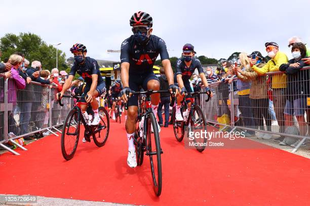 Richie Porte of Australia, Richard Carapaz of Ecuador & Tao Geoghegan Hart of The United Kingdom and Team INEOS Grenadiers at start during the 108th...
