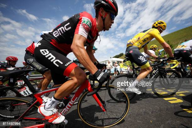 Richie Porte of Australia riding for BMC Racing Team and Christopher Froome of Great Britain riding for Team Sky in the leader's jersey ride in the...