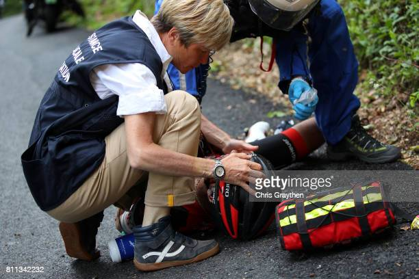 Richie Porte of Australia riding for BMC Racing Team is attended to by medical staff after crashing during stage 9 of the 2017 Le Tour de France a...