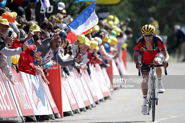Richie Porte of Australia riding for BMC Racing Team reacts as he crosses the finish line after stage twelve, a 178km stage from Monpellier to...