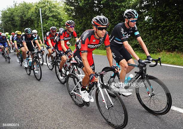 Richie Porte of Australia the BMC Racing Team rides with Chris Froome of Great Britain and Team SKY during stage three of the 2016 Tour de France, a...