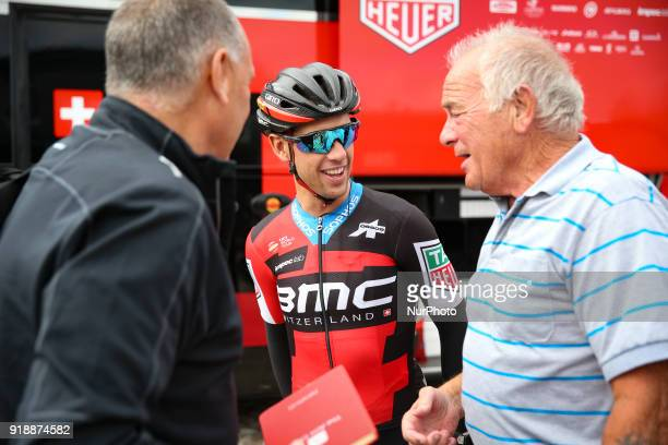 Richie Porte of BMC Racing Team talk with fans before the 2nd stage of the cycling Tour of Algarve between Sagres and Alto do Foia on February 15 2018