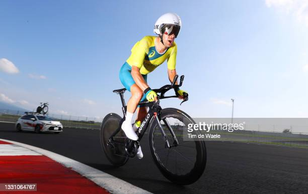 Richie Porte of Team Australia rides during the Men's Individual time trial on day five of the Tokyo 2020 Olympic Games at Fuji International...