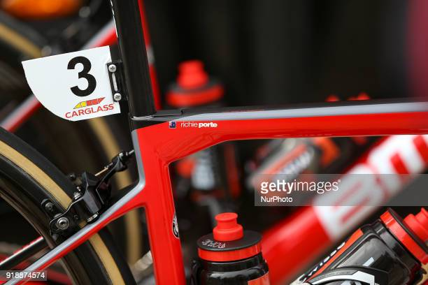 Richie Porte's bicycle of BMC Racing Team before the 2nd stage of the cycling Tour of Algarve between Sagres and Alto do Foia on February 15 2018