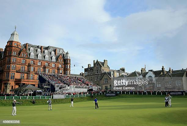 Richie Ramsay just misses a birdie putt at the par 4 18th hole during the final round of the 2014 Alfred Dunhill Links Championship on the Old Course...