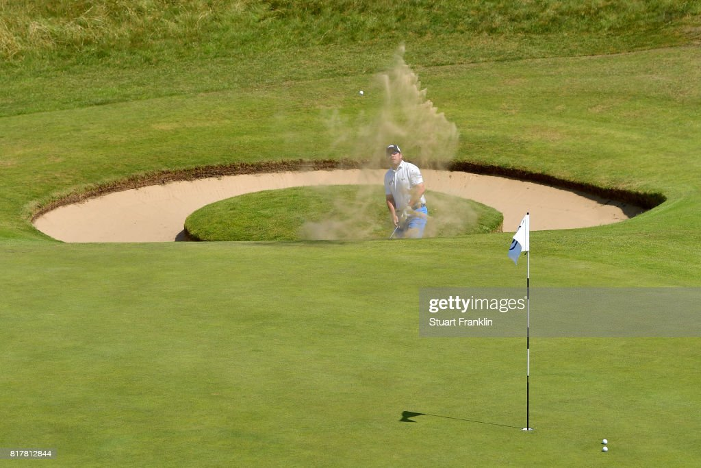 Richie Ramsay of Scotland hits a bunker shot on the 7th hole during a practice round prior to the 146th Open Championship at Royal Birkdale on July 18, 2017 in Southport, England.