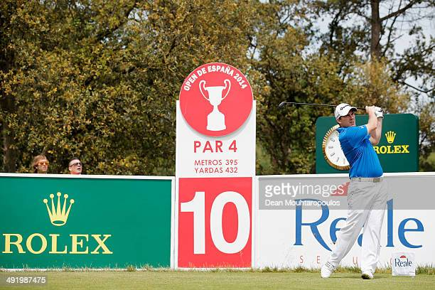 Richie Ramsay of Scotland hits his tee shot on the 10th hole during the final round of the Open de Espana held at PGA Catalunya Resort on May 18 2014...
