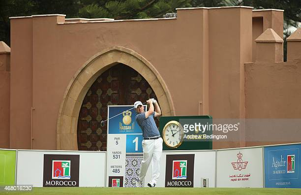 Richie Ramsay of Scotland hits his teeshot on the first hole during the final round of the Trophee Hassan II Golf at Golf du Palais Royal on March 29...