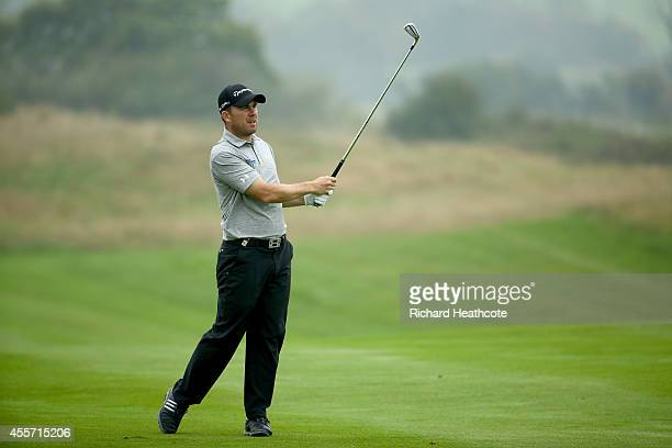 Richie Ramsay of Scotland in action during the second round of the ISPS Handa Wales Open at Celtic Manor Resort on September 19 2014 in Newport Wales
