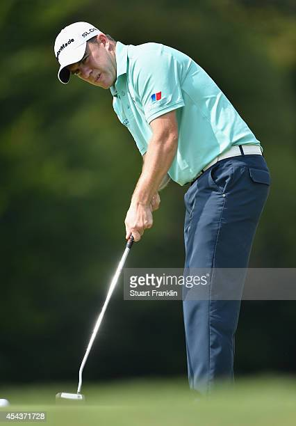 Richie Ramsay of Scotland lines up a putt during the third round of the 71st Italian Open Damiani at Circolo Golf Torino on August 30 2014 in Turin...