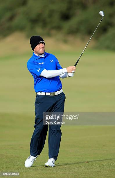 Richie Ramsay of Scotland plays his second shot to the 15th hole during the final round of the 2014 Alfred Dunhill Links Championship at The Old...