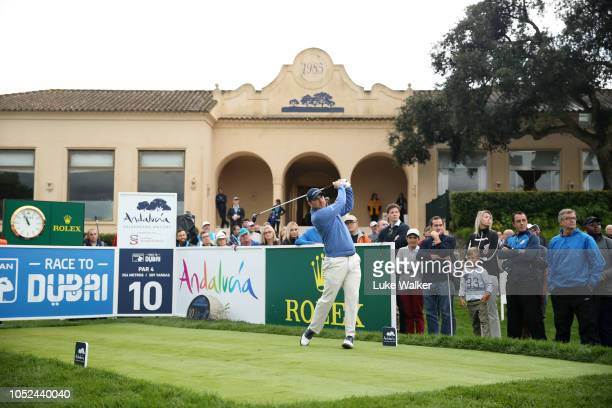 Richie Ramsay of Scotland plays his shot off the 10th tee during day one of the Andalucia Valderrama Masters at Real Club Valderrama on October 18...