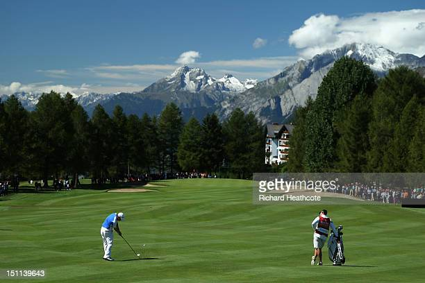 Richie Ramsay of Scotland plays into the 1st green during the final round of the Omega European Masters at CranssurSierre Golf Club on September 2...