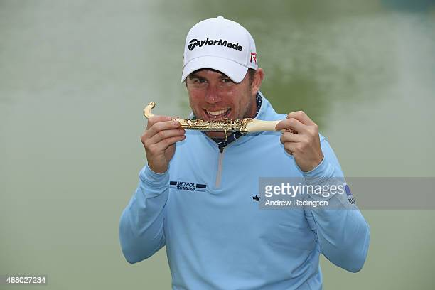Richie Ramsay of Scotland poses with the trophy after winning the Trophee Hassan II Golf at Golf du Palais Royal on March 29 2015 in Agadir Morocco