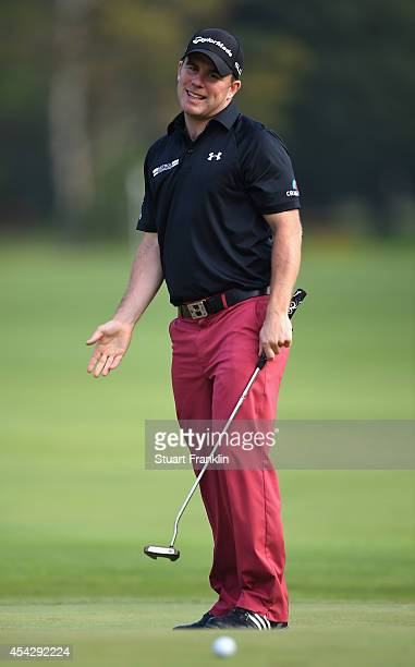 Richie Ramsay of Scotland reacts to a putt during the first round of the 71st Italian Open Damiani at Circolo Golf Torino on August 28 2014 in Turin...