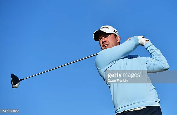 Richie Ramsay of Scotland tees off on the 4th hole during the first round on day one of the 145th Open Championship at Royal Troon on July 14 2016 in...