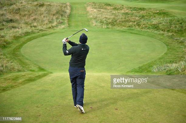 Richie Ramsay of Scotland tees off on the 6th hole during Day three of the Alfred Dunhill Links Championship at Carnoustie Golf Links on September 28...