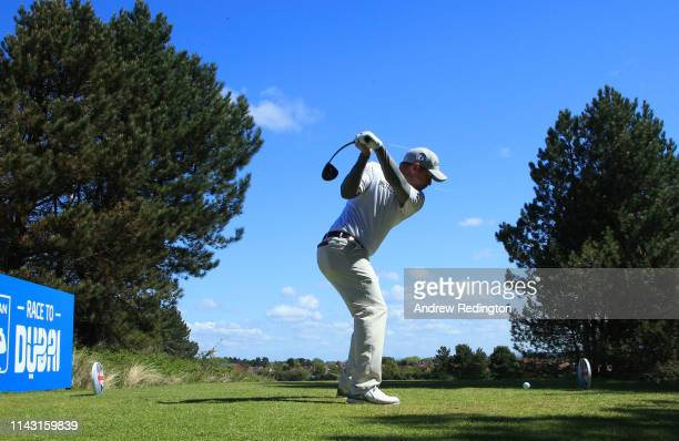 Richie Ramsay of Scotland tees off on the 9th hole during day four of the Betfred British Masters at Hillside Golf Club on May 12, 2019 in Southport,...