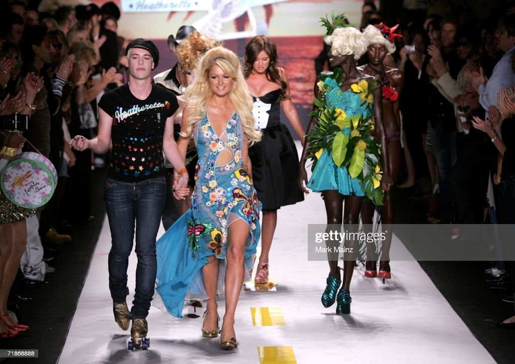 Richie Rich, Nicky Hilton and Paris Hilton walk the runway at the Marchesa Spring 2007 fashion show during Olympus Fashion Week at the Daryl Roth Theater September 12, 2006 in New York City.