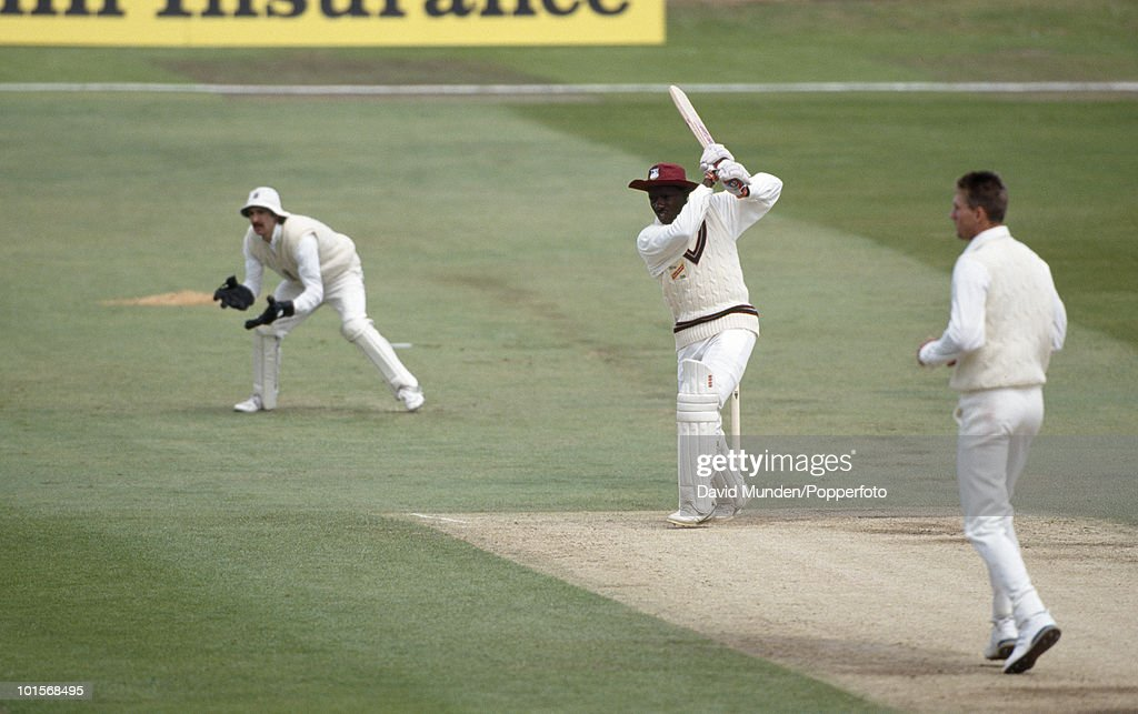 Richie Richardson batting for the West Indies on the second day of the 1st Test Match between England and the West Indies at Headingley in Leeds, 7th June 1991. The England bowler is Steve Watkin, and the wicketkeeper is Jack Russell. England won by 115 runs.
