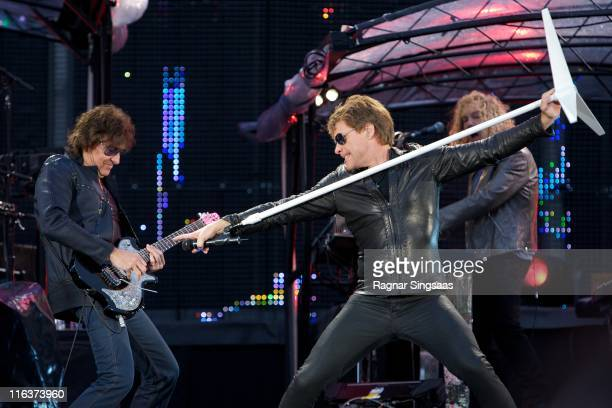 Richie Sambora and Jon Bon Jovi of Bon Jovi perform at Ullevaal Stadion on June 15 2011 in Oslo Norway