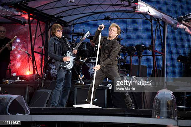 Richie Sambora and Jon Bon Jovi of Bon Jovi perform on stage at Murrayfield Stadium on June 22 2011 in Edinburgh United Kingdom