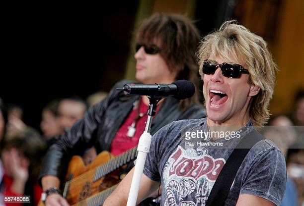 """Richie Sambora and Jon Bon Jovi of Bon Jovi perform on stage during the Toyota Concert Series on the """"Today"""" show September 23, 2005 in New York City."""