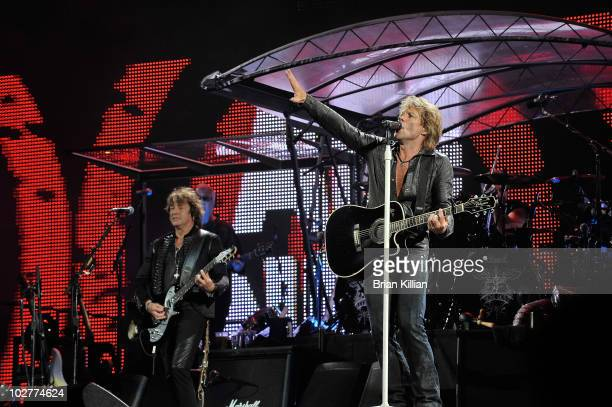 Richie Sambora and Jon Bon Jovi perform at the New Meadowlands Stadium on July 9, 2010 in East Rutherford, New Jersey.