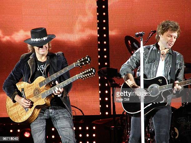 Richie Sambora and Jon Bon Jovi perform on stage on the Bon Jovi 'Lost Highway' tour at The Ricoh Arena on June 24th, 2008 in Coventry United Kingdom.