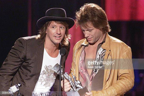 Richie Sambora and Jon Bon Jovi winners for the Hottest Live Show at the My Vh1 Music Awards 2001 at the Shrine Auditorium in Los Angeles Ca Sunday...