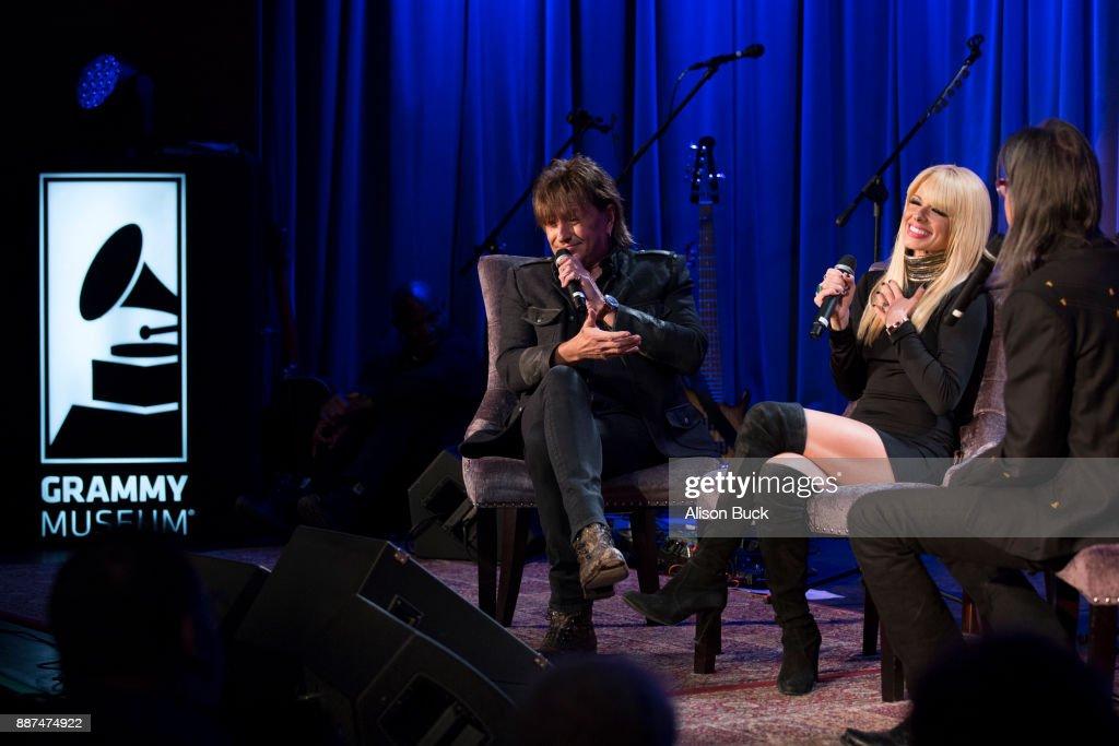 Richie Sambora and Orianthi speak onstage during The Drop: