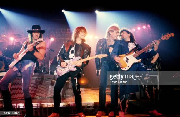 Richie Sambora Joe Elliot of Def Leppard John Bon Jovi and Alec John Such