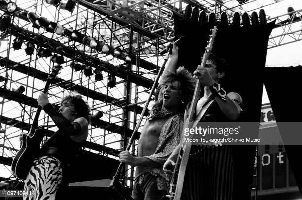 Richie Sambora Jon Bon Jovi Alec John Such of Bon Jovi perform on stage at Seibu Stadium for Super Rock '84 12th August 1984 Tokyo Japan