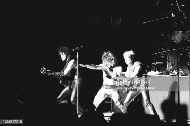 Richie Sambora Jon Bon Jovi and Alec John Such of Bon Jovi perform on stage in Tokyo Japan April or May 1985