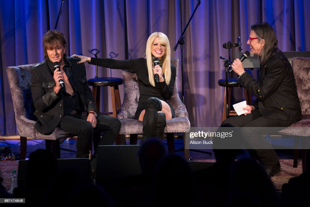 Richie Sambora, Orianthi and Scott Goldman speak onstage during The Drop: