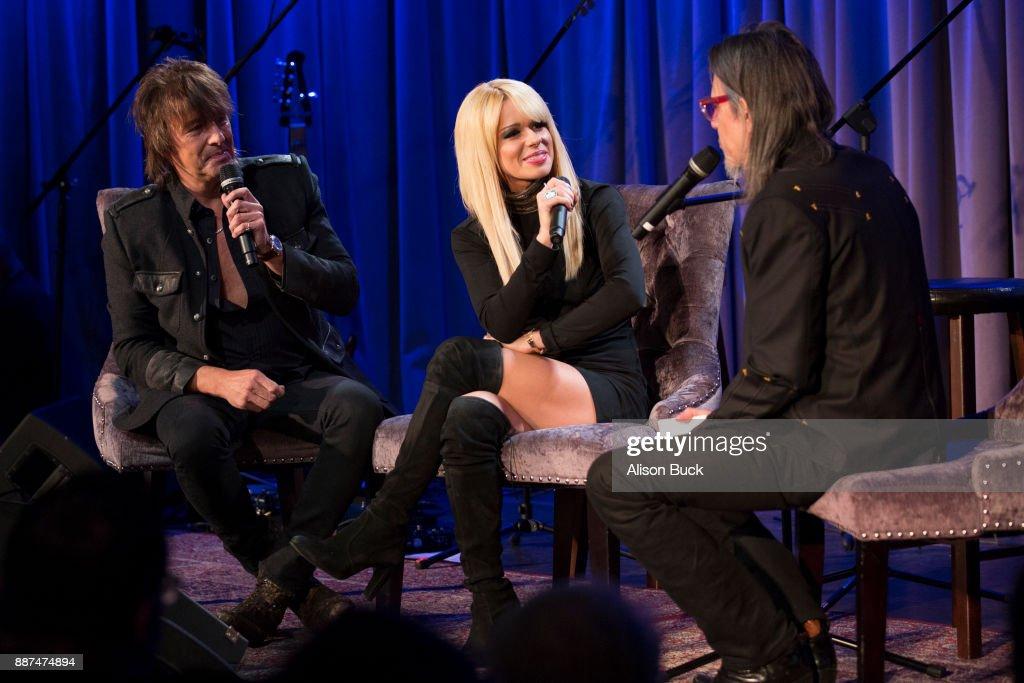 Richie Sambora, Orianthi and Scott Goldman speak onstage during The Drop: