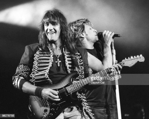 Richie Sambora with fender stratocaster and Jon Bon Jovi from Bon Jovi performing live at the Oakland Coliseum on March 14 1993