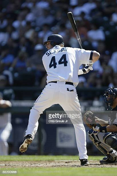 Richie Sexson of the Seattle Mariners bats during the game with the New York Yankees on September 1 2005 at Safeco Field in Seattle Washington The...