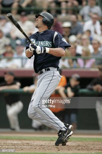 Richie Sexson of the Seattle Mariners bats during the Spring Training game against the San Francisco Giants at Scottsdale Stadium on March 18 2005 in...