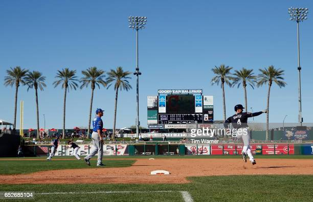 Richie Shaffer of the Cleveland Indians rounds first base after a home run against the Kansas City Royals during a spring training game at Goodyear...