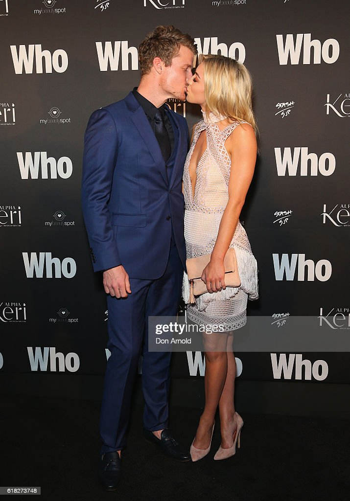 Richie Strahan and Alex Nation arrive ahead of the WHO Sexiest People Party on October 26, 2016 in Sydney, Australia.