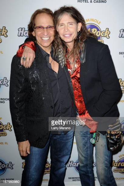 Richie Supa and Steven Tyler attend the Bikers Bash at Seminole Hard Rock Hotel on December 7, 2012 in Hollywood, Florida.
