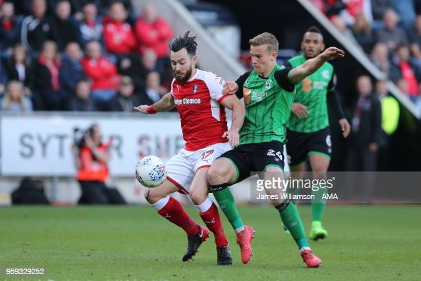 Richie Towell of Rotherham United and Ryan Yates of Scunthorpe United during the Sky Bet League One Play Off Semi FinalSecond Leg between Rotherham...