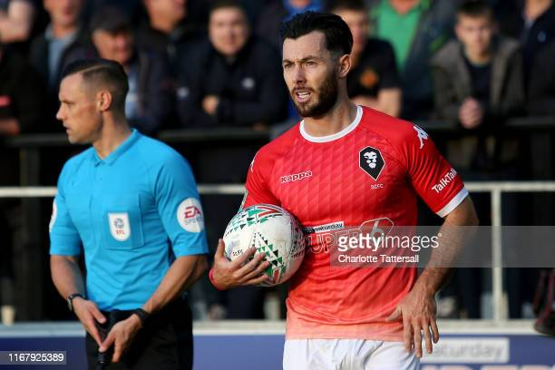 Richie Towell of Salford City during the Carabao Cup First Round match between Salford City and Leeds United at Moor Lane on August 13 2019 in...