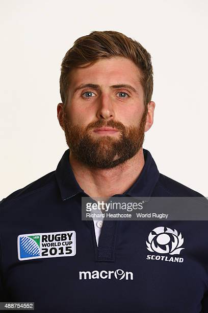 Richie Vernon of Scotland during the Scotland Rugby World Cup 2015 squad photo call at the Hilton Puckrup Hall Hotel on September 17 2015 in...