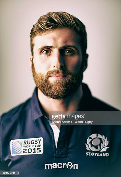 Richie Vernon of Scotland poses for a portrait during the Scotland Rugby World Cup 2015 squad photo call at the Hilton Puckrup Hall on September 17...