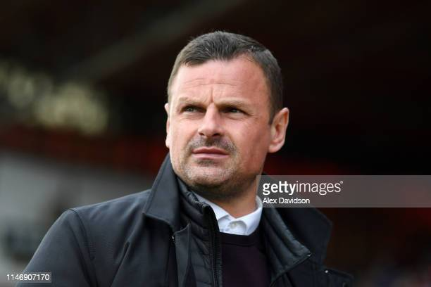 Richie Wellens, Manager of Swindon Town looks on prior to the Sky Bet League Two match between Swindon Town and Notts County at County Ground on May...