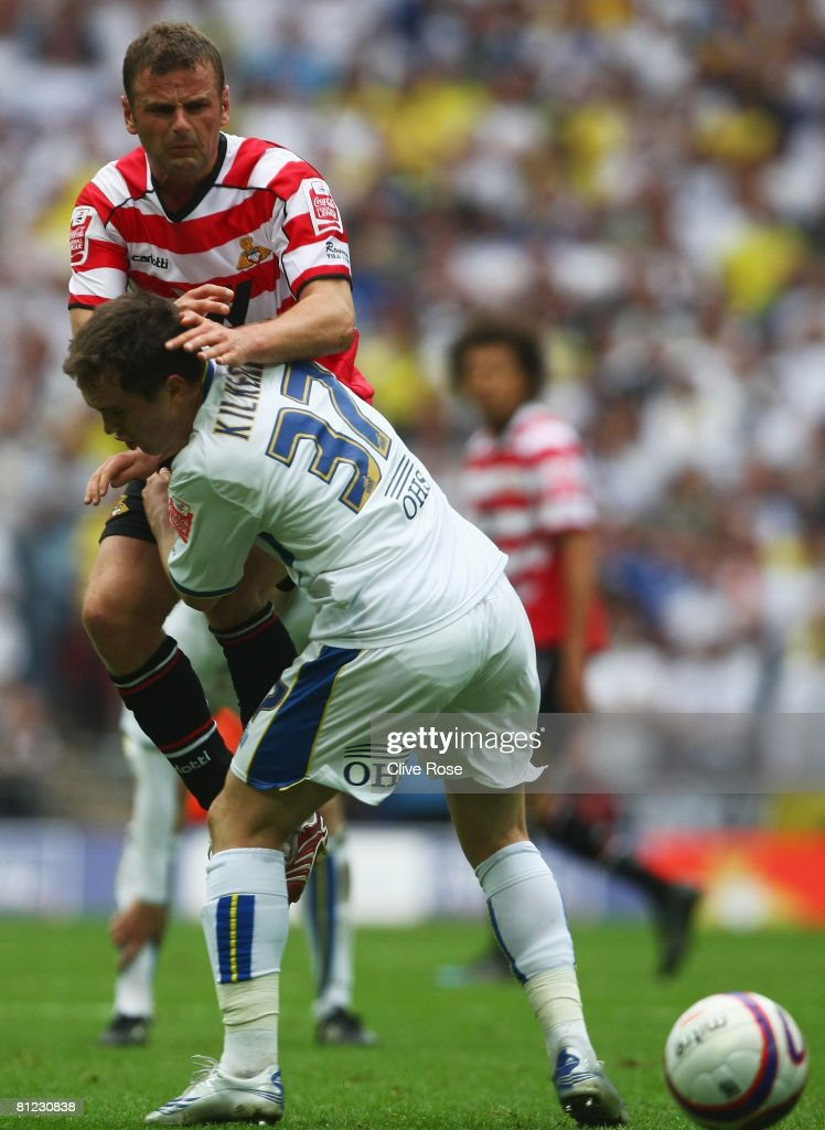 Richie Wellens of Doncaster Rovers battles with Neil Kilkenny of Leeds United during the Coca Cola League 1 Playoff Final match between Leeds United and Doncaster Rovers at Wembley Stadium on May 25, 2008 in London, England.