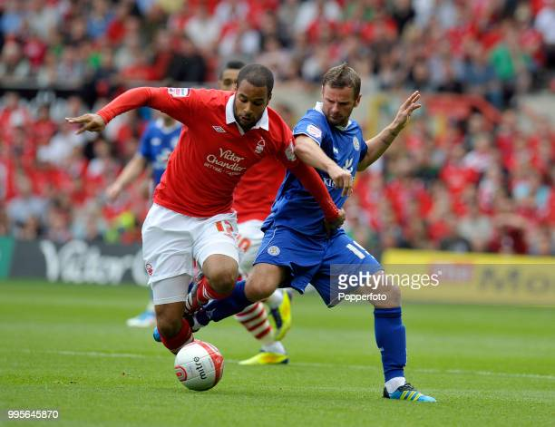 Richie Wellens of Leicester City and David McGoldrick of Nottingham Forest in action during the Championship match between Nottingham Forest and...